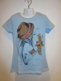 Shirt blauw girl hoed van Zero
