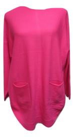 Trui roze met zakjes en knoopjes op de rug