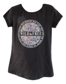 Shirt zwart wild free lila/groen