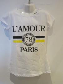 Shirt wit   L ámour geel/zwart