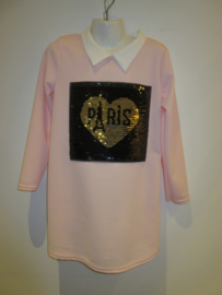 Jurk roze met kraagje Paris