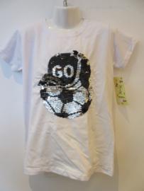 Voetbal shirt wit met omkeerbare wrijf pailetten