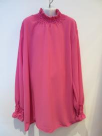 Blouse roze met elastiek in hals