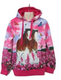 Paarden Sweater roze met 2 paarden