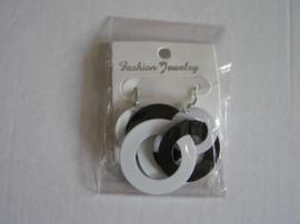 Oorbel zwart/wit ringen