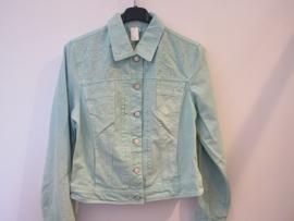 Jeans jasje groen met suds