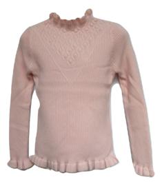 Ribbel trui roze met v design