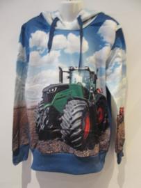 Sweater blauw  tractor met capuchon
