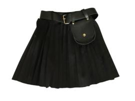 Plisse rokje zwart met tasje aan riempje