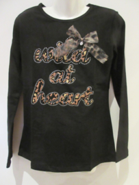 Shirt zwart wild met strik