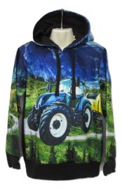 Tractor sweater blauw met capuchon