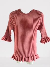 Shirt ruffle roze/zalm By Clara