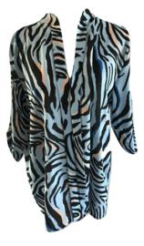 Blouse blauw zebra print