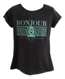 Shirt zwart bonjour met groen
