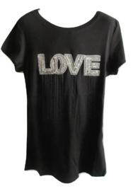Shirt zwart love met sliertjes