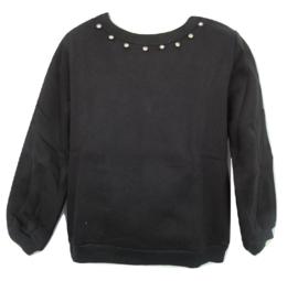 Sweater zwart met kantje en parels
