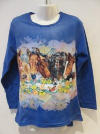 Longsleeve blauw paard
