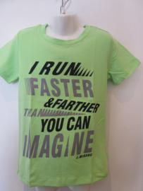 Shirt groen run faster van J. Mirano