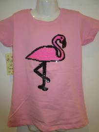 Shirt licht roze flamingo met omkeerbare veeg pailetten