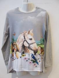 Longsleeve paard grijs