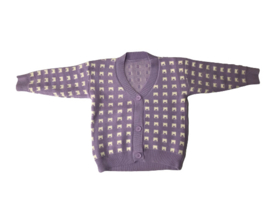 Vest gebreid lila/wit