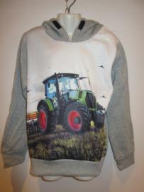 Sweater licht grijs tractor groen met capuchon