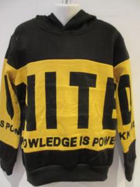 Sweater zwart geel met capuchon