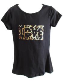 Shirt zwart love/panter