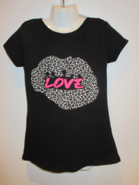 Shirt zwart panter love roze