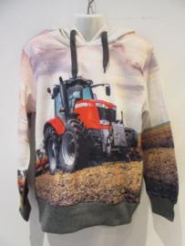Sweater grijs tractor rood met capuchon