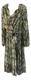 Plisse jurk print groen/bruin/creme