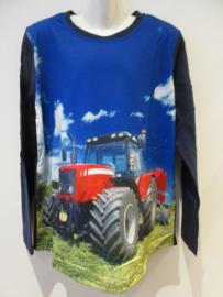 Longsleeve blauw met tractor rood