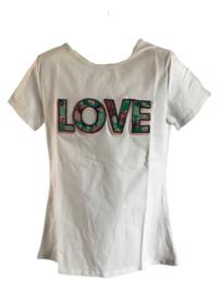 Shirt wit love groene print van Zero