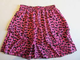 Stroken rok panter print roze/zwart