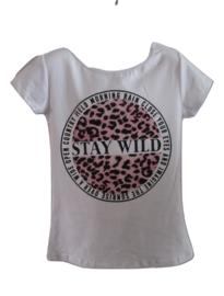 Shirt wit stay wild met roze