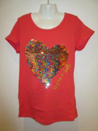 Shirt rood met hart omkeerbare Pailetten
