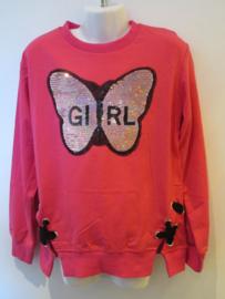 Sweater roze vlinder met omkeerbare pailetten