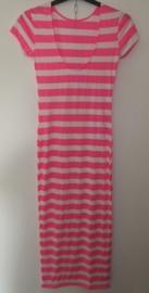 Lange jurk roze /wit gestreept