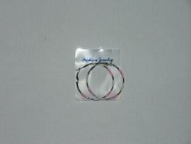 Oorbel Ringen Silver/Roze