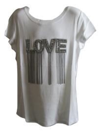 Shirt wit love met sliertjes