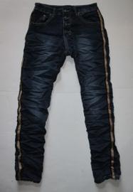 Jeans met bronzen glitter bies