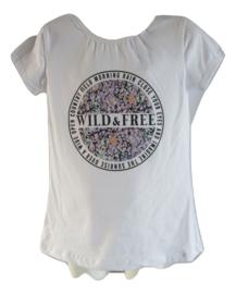Shirt wit wild free lila zalm