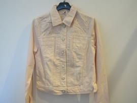 Jeans jasje zalm/roze met studs