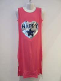 Maxe dress roze happy  met splitten