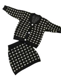 Rok + vest zwart/wit gebreid