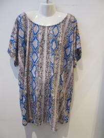 Shirt snake print met blauw
