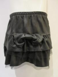 Stroken rok zwart imitatieleder met strik
