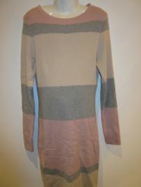Jurk streep roze/grijs
