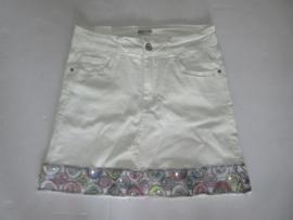 Jeans rok off white met glitter rand