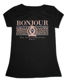 Shirt zwart bonjour